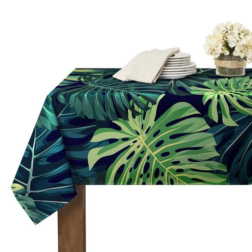 Plantain Leaves Banana Leaves Printed Rectangle Waterproof Tablecloth
