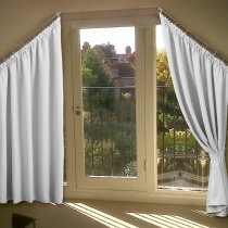 Room Darkening Curtain - Thermal Insulated Slanted Window Drape for Villa, Drapery for Triangle Window, Sold as 1 Panel