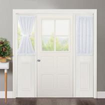 Linen Textured Look Semi Voile Privacy Door Curtain Including Tiebacks, Sold as 1 Piece