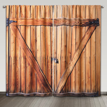 County Curtain Wooden Barn Door Pattern Blackout Window Decorating Curtain Rural Life Print for Farmhouse Office Living Room Yard Garden, Sold as 2 Panels