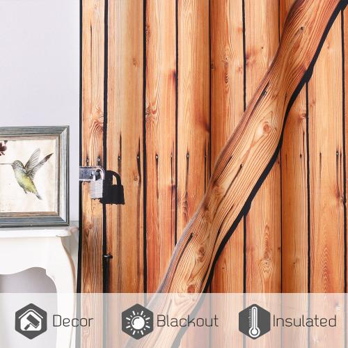 NICETOWN Custom County Wooden Barn Door Pattern Blackout Curtain (Set of 2 Panels)
