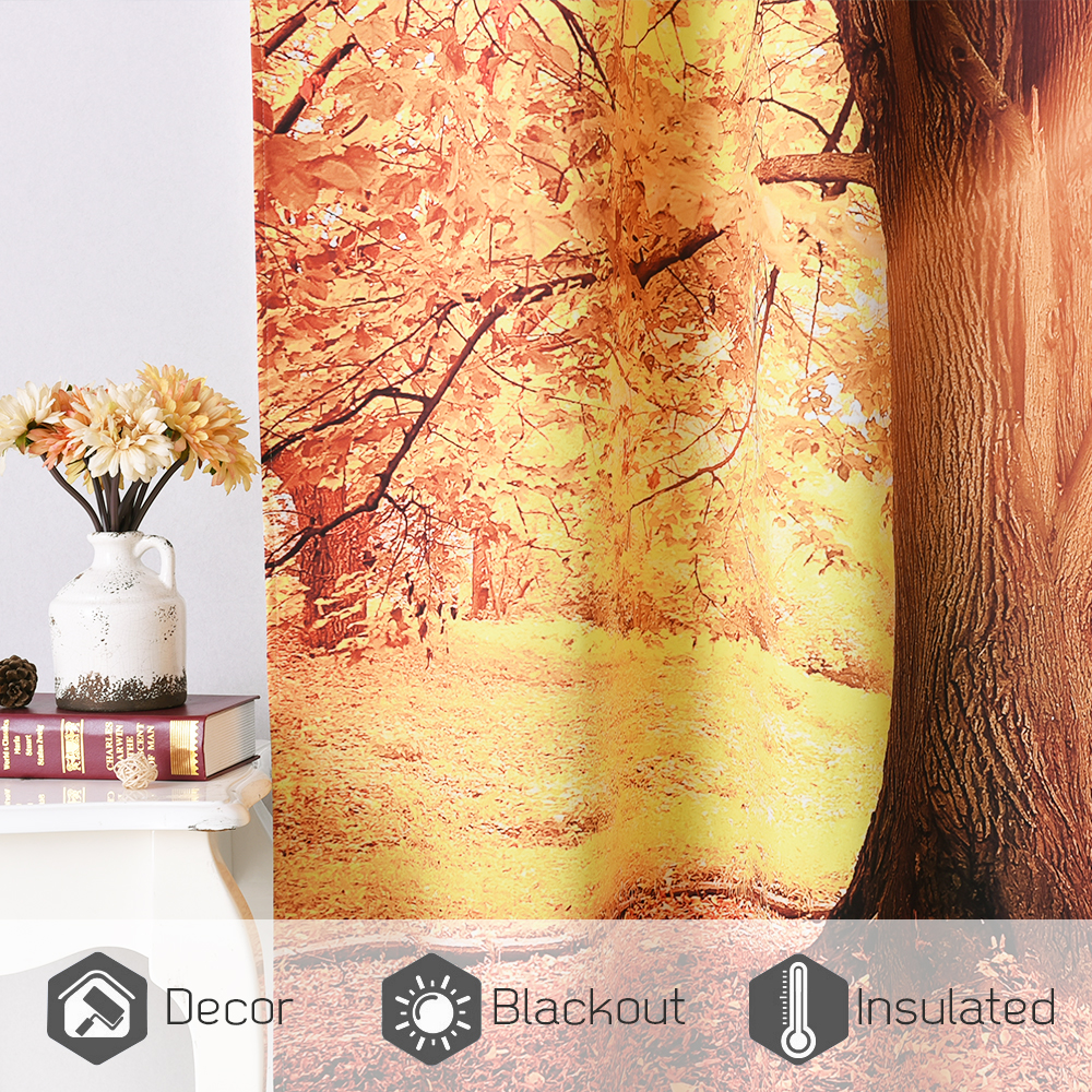 Autumn Park Digital Printing Room Darkening Curtain, Sold as 2 Panels