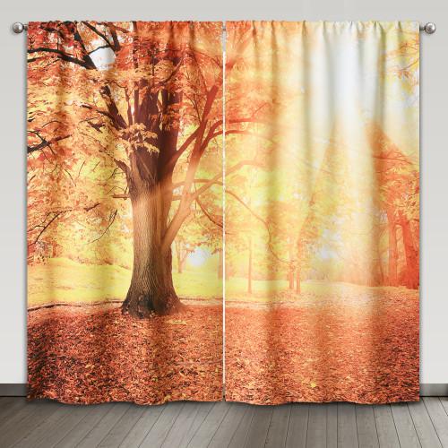 NICETOWN Custom Autumn Park Pattern Digital Printing Room Darkening Curtain (Set of 2 Panels)