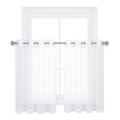 Sheer Curtain for Kitchen Window - Home Fashion Faux Linen Voile Drape for Small Windows, Sold as 1 Panel
