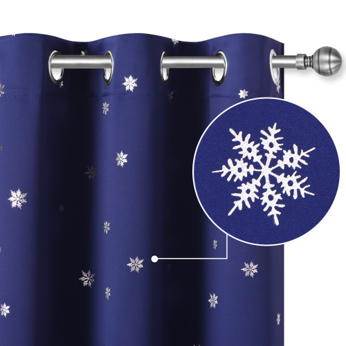 Snow Flakes Creative Pattern Printed Blackout Curtain (1 Panel)