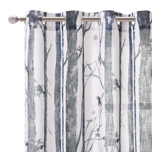Botanic Tree Branch Pattern Linen Textured Semi-Sheer Curtain (1 Panel)