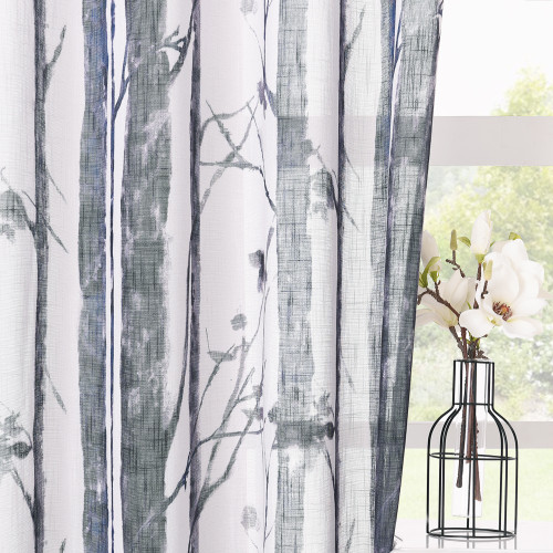 Custom Botanic Tree Branch Pattern Sheer Panel Linen Textured Semi-Sheer Curtain for Living Room / Bedroom by NICETOWN ( 1 Panel )