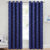 NICETOWN Snow Flakes Creative Pattern Printed Blackout Curtain (1 Panel)
