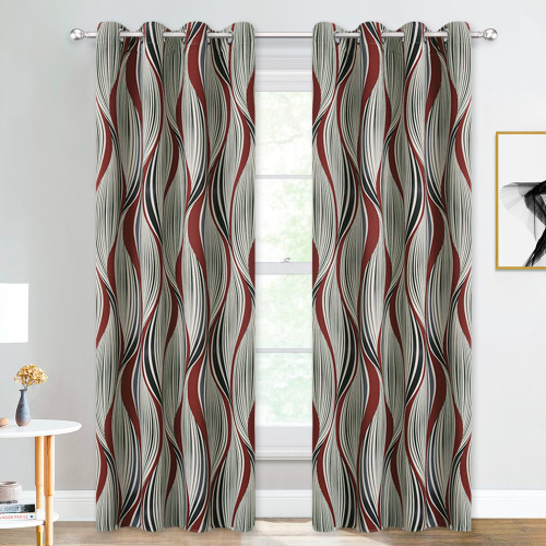 Custom Geometric Curve Pattern Short Blackout Pattern Insulated Privacy Blackout Curtain by NICETOWN ( 1 Panel )