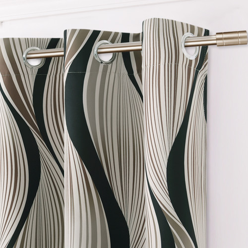 Canyon Style Room Darkening Curtain with Geometric Curve Pattern, Sold as 1 Panel
