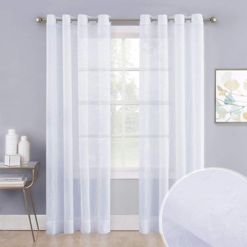 White Crinkled Voile Textured Sheer Curtain (1 Panel)