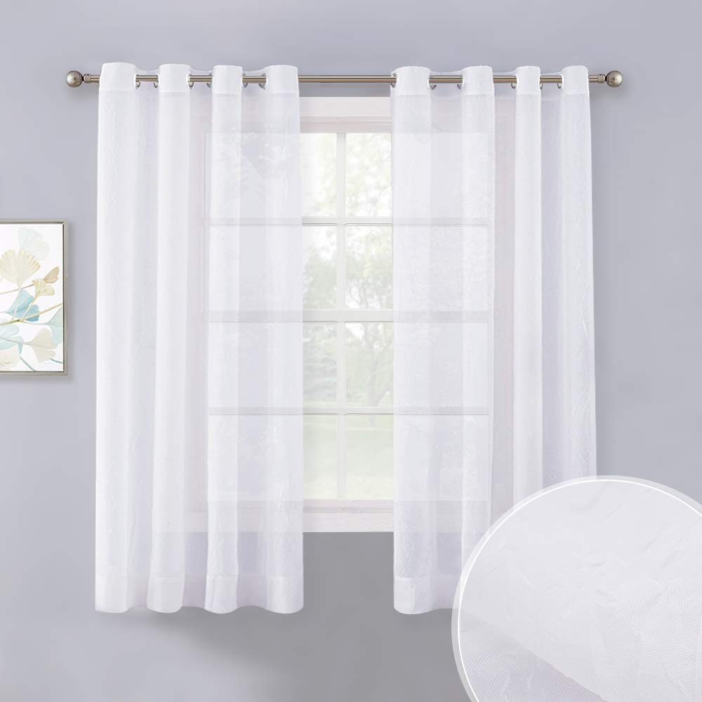 Sheer Curtains White Crinkled Voile Textured, Crushed Privacy Sheer Window Treatment