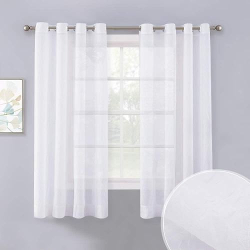 NICETOWN White Crinkled Voile Textured Sheer Curtain (1 Panel)