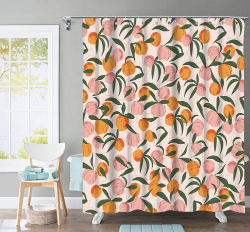 Summer Peach, Simple Modern Fashion Shower Curtain, 1 PC