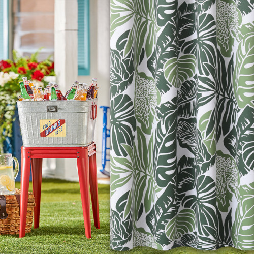 Banana Leaf Waterproof Outdoor Curtain for Patio/Front Porch ,Sold as 1 Panel