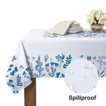 Waterproof Tablecloth for Rectangle Table Blue Flower