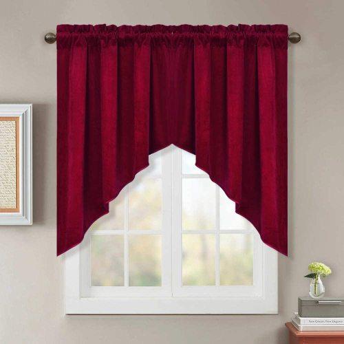 Custom Half Velvet Window Rod Pocket Kitchen Tier Curtain Tailored Scalloped Valance / Swag by NICETOWN ( 1 Panel )