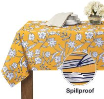 Print White Floral Pattern Stain Resistant, Wrinkle Free Spillproof Washable Polyester Table Cover