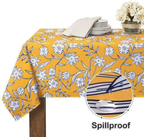 White Floral Pattern Stain Resistant, Wrinkle Free Spillproof Washable Table Cover