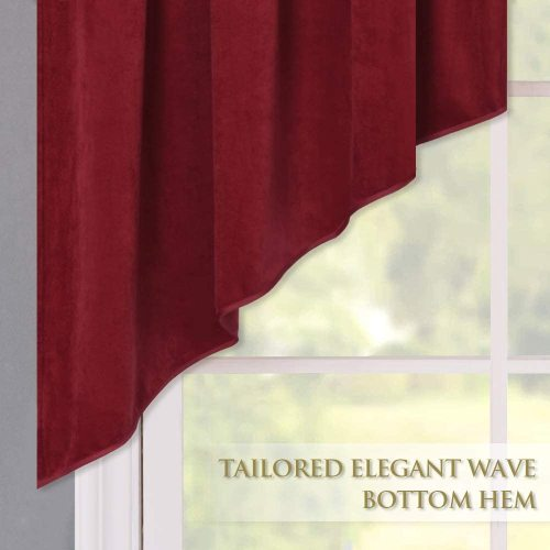 Velvet Window Valance - Half Blackout Velvet Textured Tassels Curtain Tier, Sold as 1 Panel