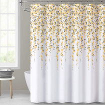 Raining Flowers Shower Curtain, Water Repelling White Curtain Liner