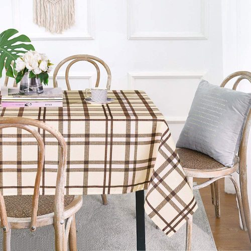 Waterproof Taupe Buffalo Checked Rectangle Plaid Tablecloth