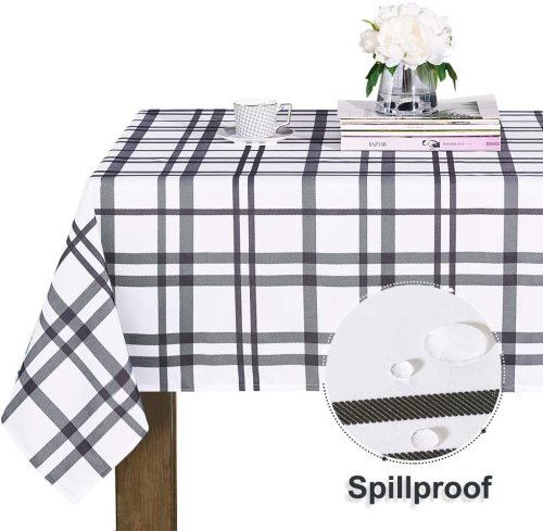 Plaid Waterproof Taupe Buffalo Checked Rectangle Tablecloth