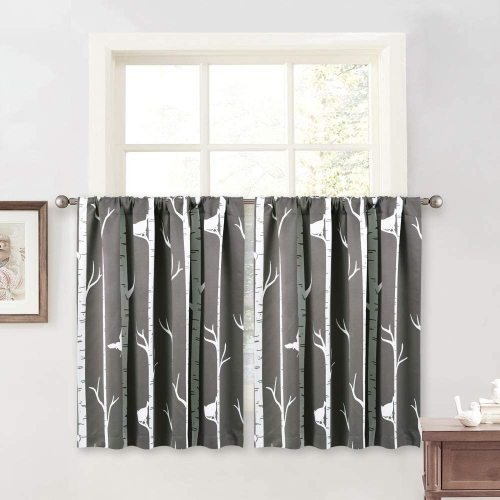 Modern Tree and Birds Pattern Grommet Drapes for Kitchen Dining Cafe Kids Playroom,Sold as 1 Panel