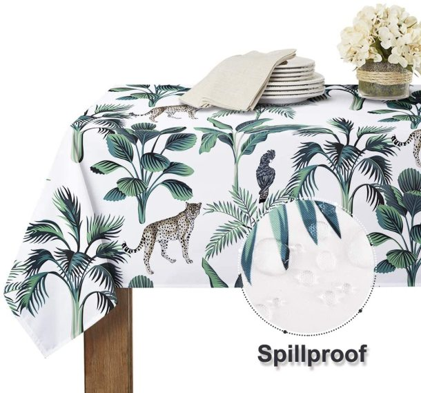 Pastoral Leaf Vitality Animal Pattern Wrinkle Free Spillproof Washable Table Cover