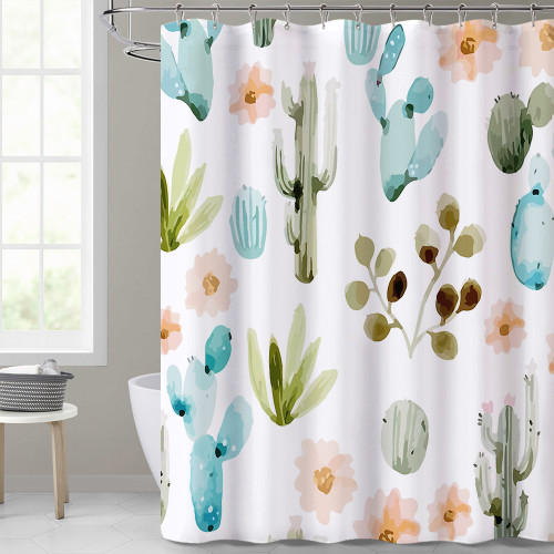 Watercolor Cactus, Simple Modern Fashion Shower Curtain, Bathroom Curtain, Waterproof Material, 1 PC