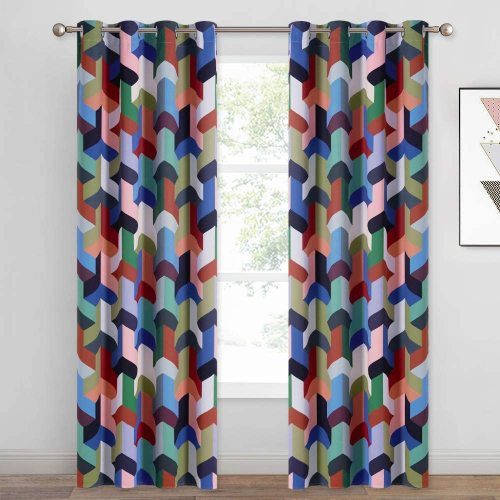 Magic Cube Geometry Pattern Printed Blackout Curtain (1 Panel)