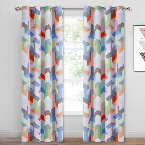 Custom Magic Cube Geometry Pattern Short Blackout Pattern Insulated Blackout Curtain by NICETOWN ( 1 Panel )