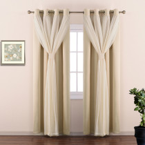 2 Layers Crinkled Voile Blackout Curtain with Free Tie-Backs (1 Panel)
