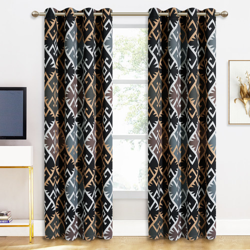 Custom Geometric Totem Patterned Blackout Curtain Room Darkening Thermal Curtain by NICETOWN ( 1 Panel )