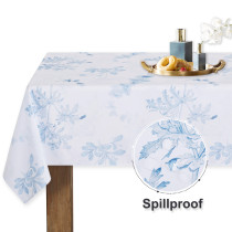 NICETOWN Custom Tablecloth with Blue Flower for Rectangle Table