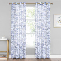 Custom Natural Linen Sheer Curtainwith Vintage Pattern Privacy Semi Sheer by NICETOWN ( 1 Panel )