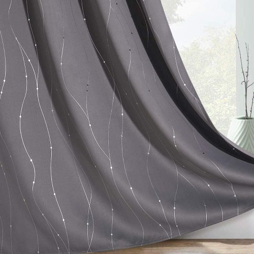 Foil Striped Printed Pattern Blackout Curtain (1 Panel)