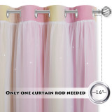 Custom Pink Star Curtain for Girls Bedroom Double Layer Colorful Stripes Kids Blackout Curtain Livingroom Window Curtain by NICETOWN ( 1 Panel )
