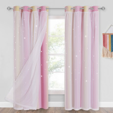 Girls Bedroom Star Cut Out Blackout Window Curtains with White Sheer Double Layers Gradient Multicolor Stripe,Pink and Yellow