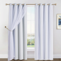 NICETOWN 2 Layers Mix & Match Elegance Gauze & Blackout Curtain Panel with Free Rope