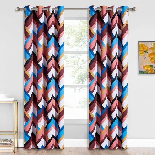 Geometry Grommet Thermal Insulated Kids Curtain,Sold as 1 Panel