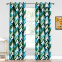 Custom Geometry Patterned Blackout Curtain Room Darkening Thermal Curtain by NICETOWN ( 1 Panel )