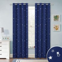 Kids Curtain Room Darkening Shades, Silver Star Curtain Privacy Window Drapes
