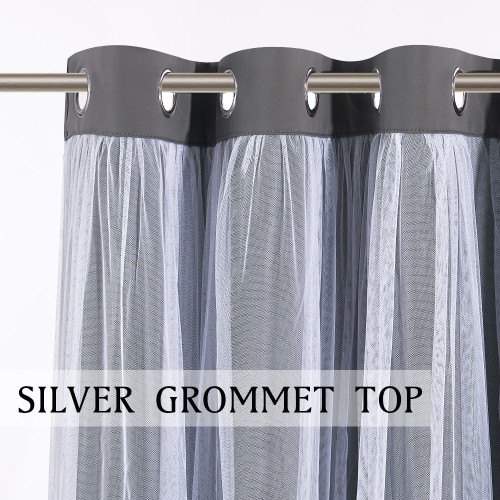 Custom Nursery Crushed Voile Sheer Solid Blackout Curtain Panel  Room Darkening with Tie-Backs for Kids Room by NICETOWN ( 1 Panel )