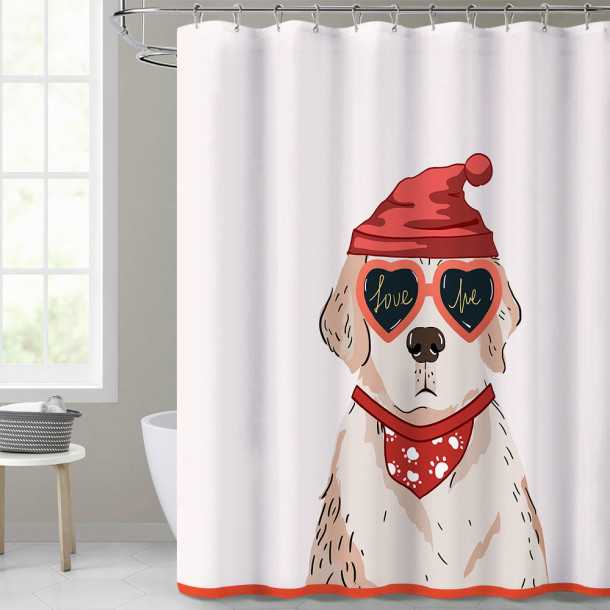 Custom Cool Dog Pattern Simple Modern Fashion Shower Curtain by NICETOWN ( 1 Panel )