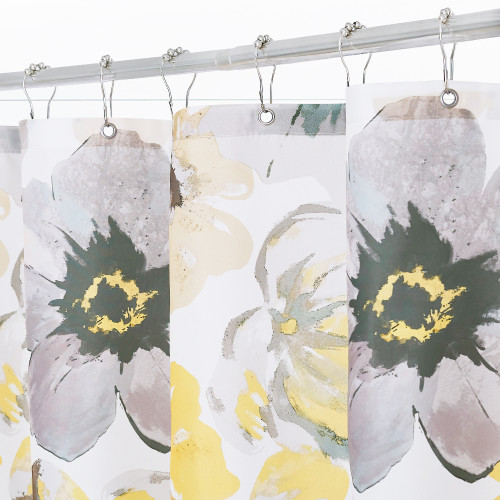 Yellow and Grey Flower Shower Curtains