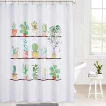 Pot Culture Plants Pattern Simple Modern Fashion Waterproof Shower Curtain for Bathroom