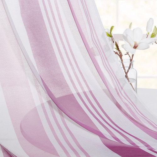 Girls Room Stripe Sheer Curtain for Bedroom Pink and Puple
