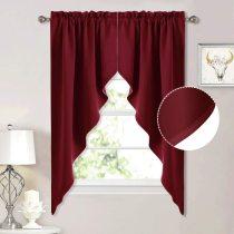 Blackout Pole Pocket Kitchen Tier Curtains -Tailored Scalloped Window Valance