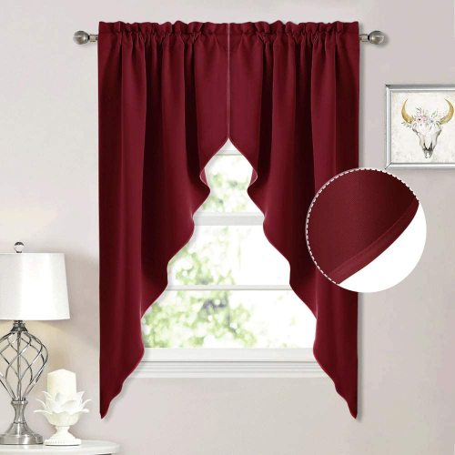 Blackout Pole Pocket Kitchen Tier Curtains- Tailored Scalloped Valance/Swags